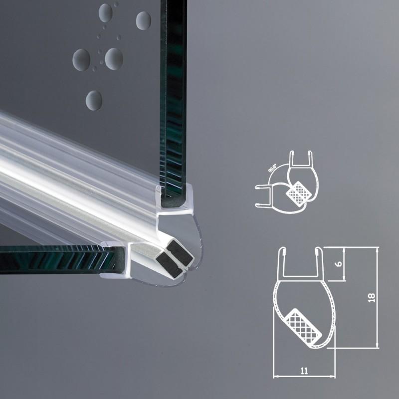 Guarnizione magnetica box doccia angolo vetro 6mm ec 109 - Vetri per doccia ...